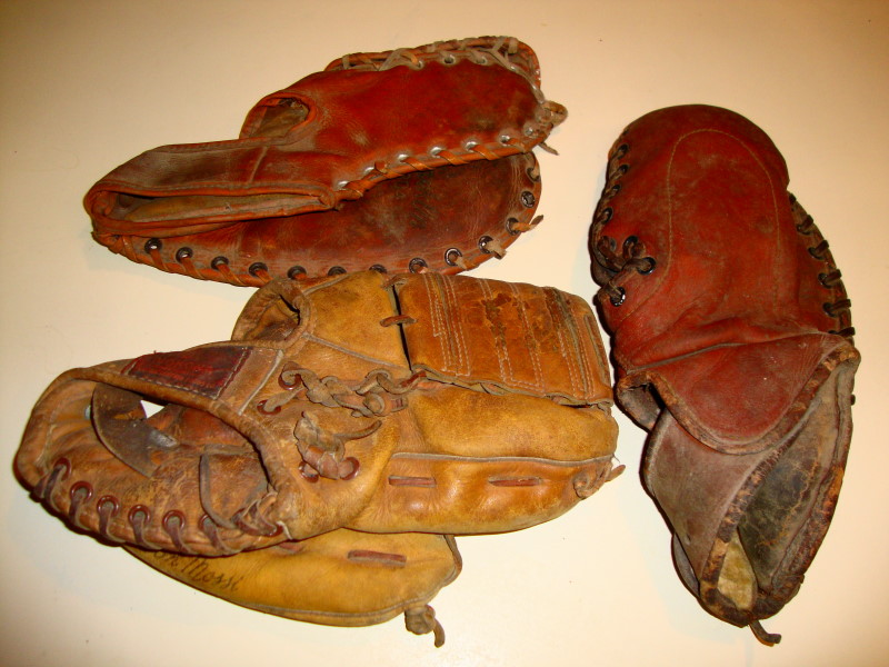 3 1960s Leather Baseball Gloves