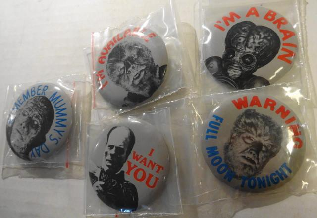 """5 1960s Monster Pins 2"""""""