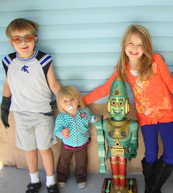 3 Crazy Kids & Big Loo - Grandson has Batgloves on.
