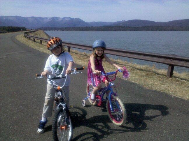 Biking by Ashokan Reservoir, Catskills, NY