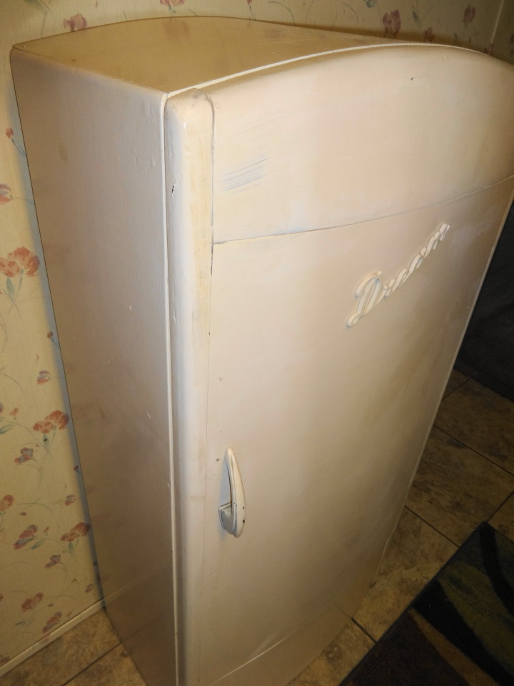 1950s Child Size Wooden Refrigerator