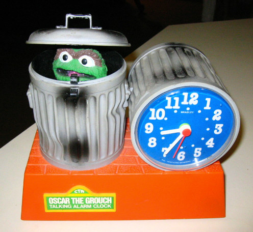 1970s Oscar The Grouch Talking Alarm Clock