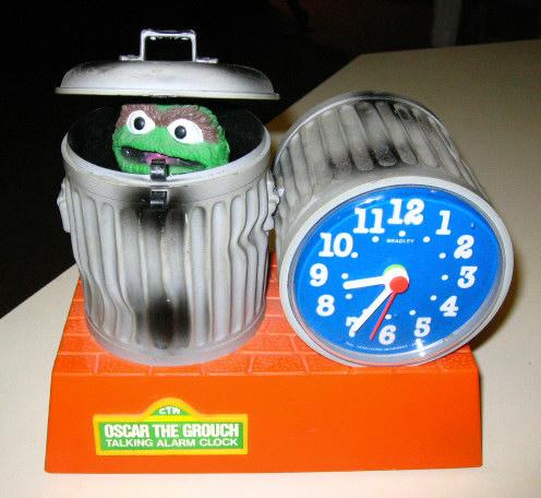 1970s Oscar The Grouch Talking Alarm Clock