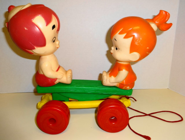 1965 Pebbles & Bamm Bamm Pull Toy See Saw by Transogram