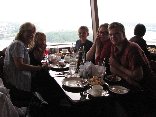 Eating lunch in Skylon Tower overlooking Falls.