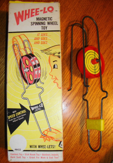 1960s Whee-lo Magnetic Spinning Wheel Toy Mint in Box